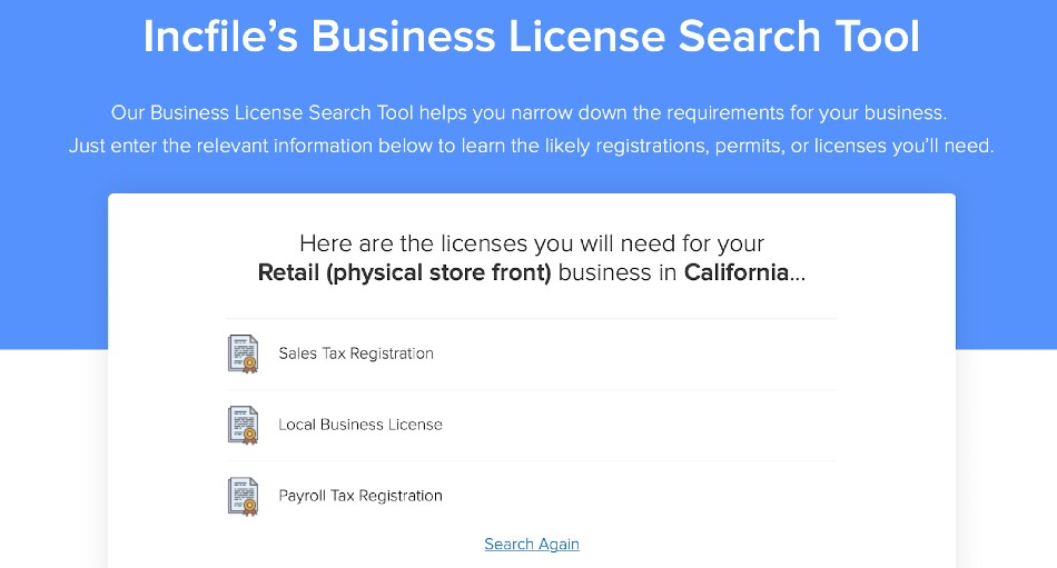Screenshot of Incfile Business License Search Tool