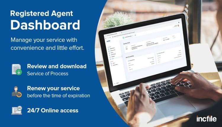 Screenshot of Incfile Registed Agent Dashboard
