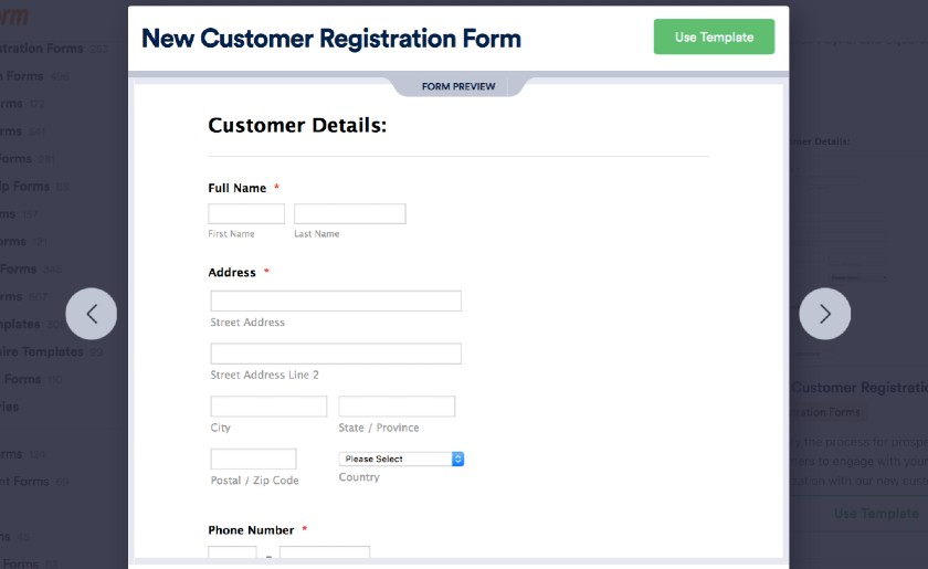 Screenshot of JotForm New Customer Registration Form