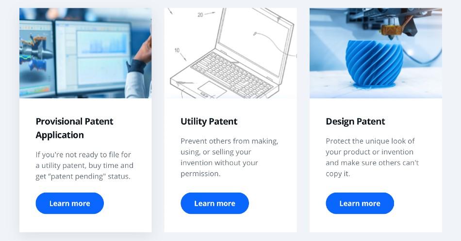 Screenshot of LegalZoom Patents