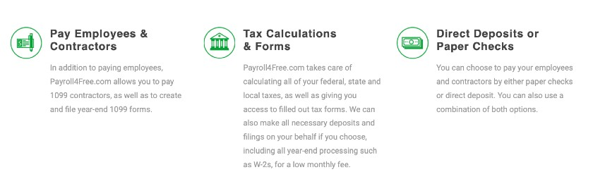 Screenshot of Payroll4Free Features for Under 25 Employees or Contractors