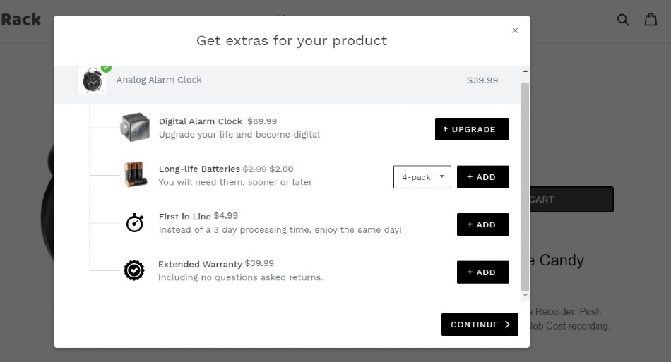 Screenshot of Products that Complement Items in the Cart