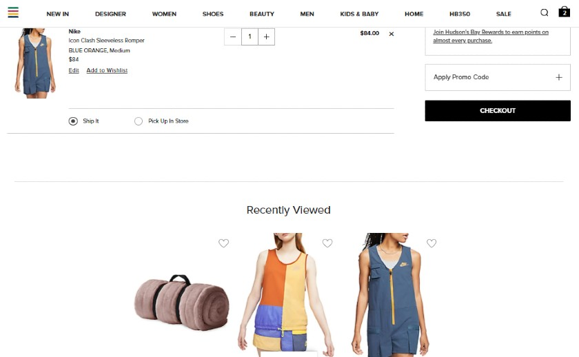 Screenshot of Recently Viewed Items