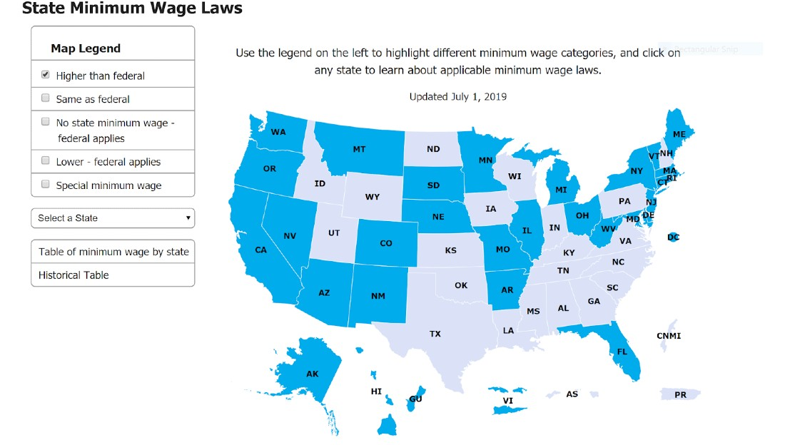 Screenshot of State Minimum Wage Laws