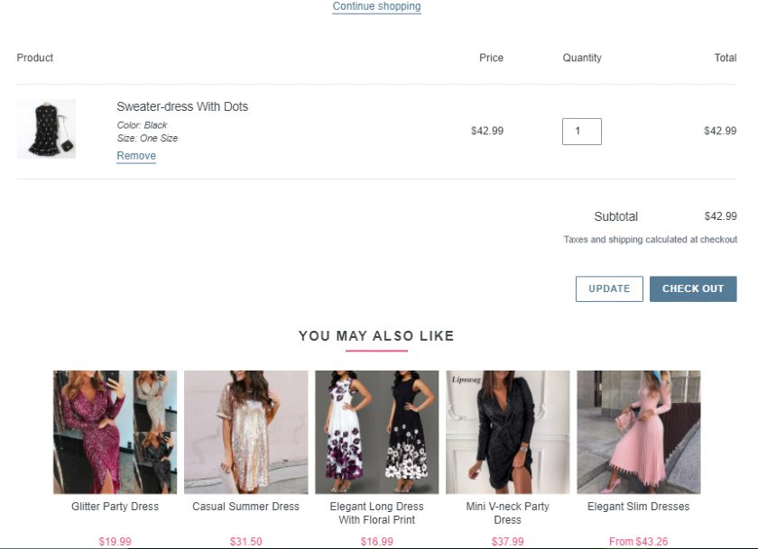 Screenshot of Suggested Similar Products in Catalogue