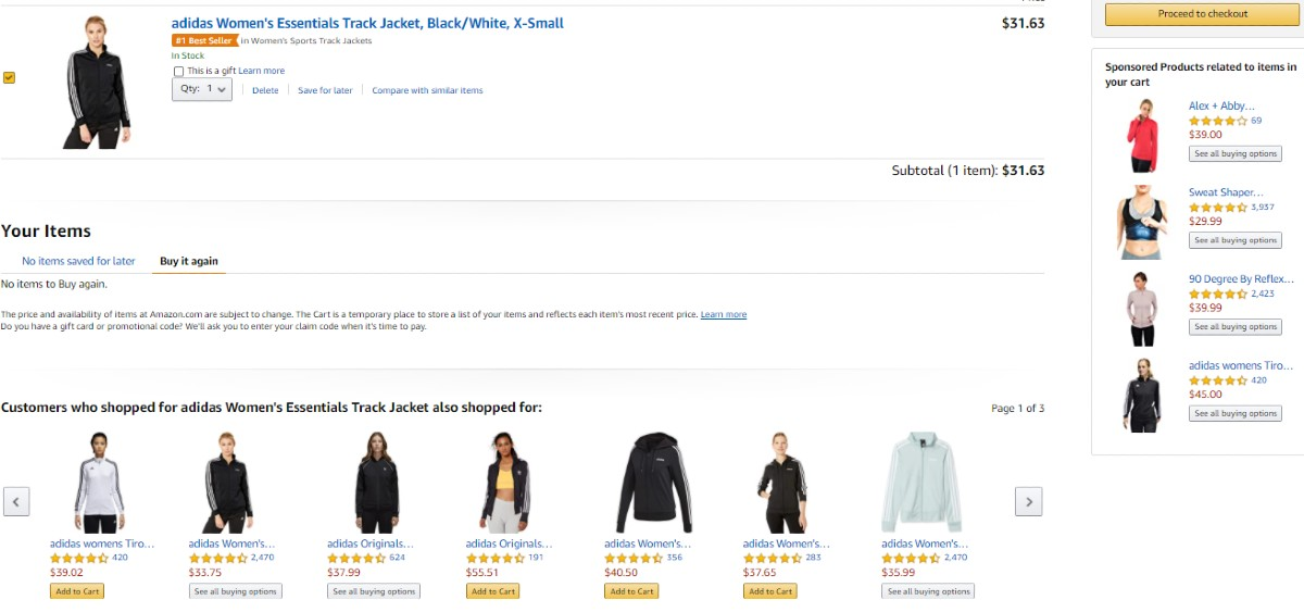 Screenshot of Suggestions of Products From the Same Brand