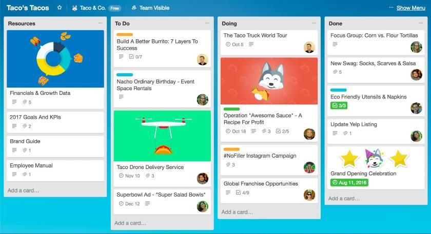 Screenshot of Trello Boards