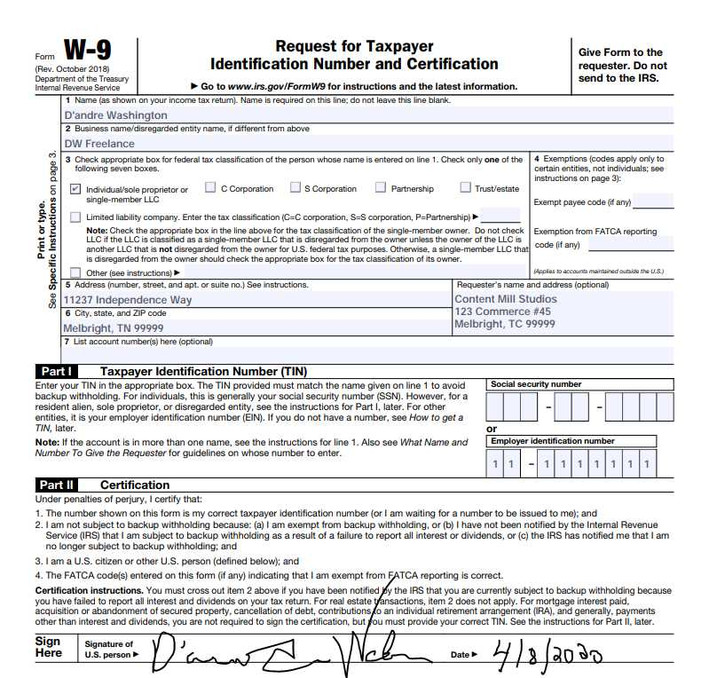 Screenshot of W-9 Form Filled Out