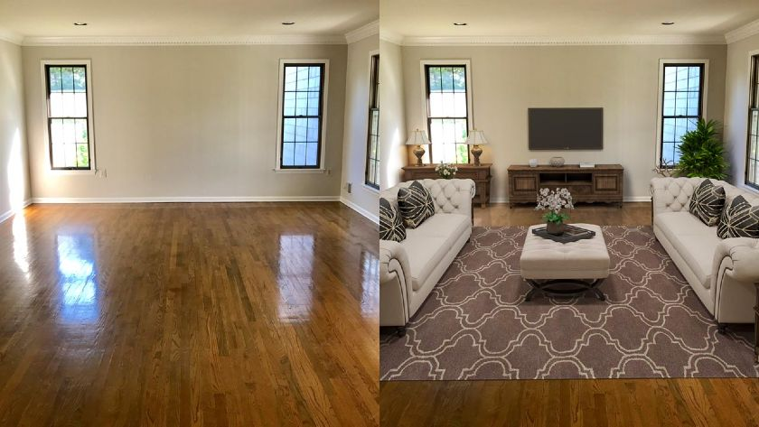 Before and after of a virtually staged room by Box Brownie