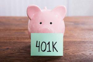401K infront of piggybank