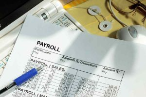 payroll on a sheet on paper