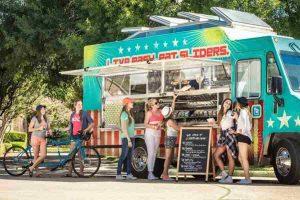 food trucks and customers
