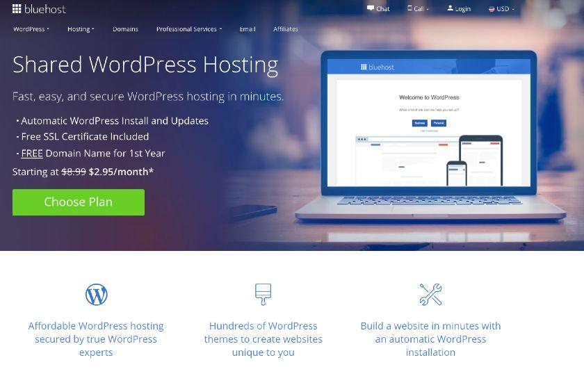 Bluehost WordPress hosting page