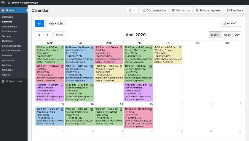 Bookly Calendar interface