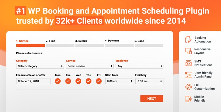 Bookly Pro Booking Appointment Plugin