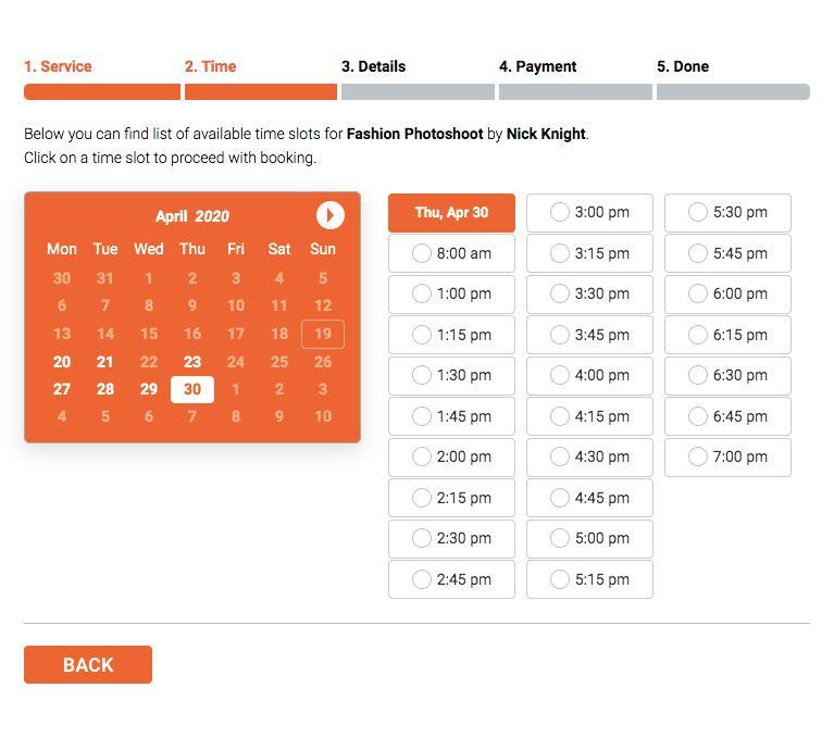 Bookly time setup in calendar
