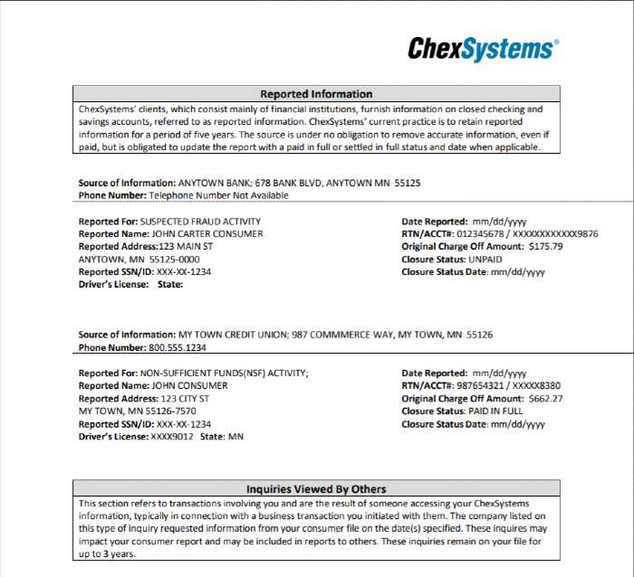 ChexSystems Reported Information