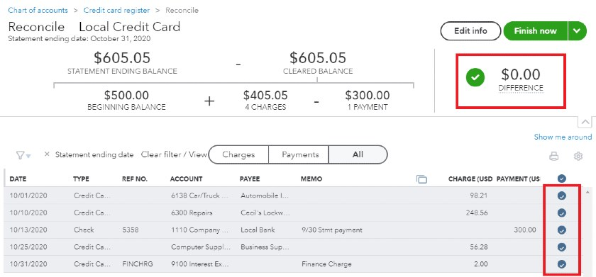 Completed Credit Card Reconciliation in QuickBooks Online