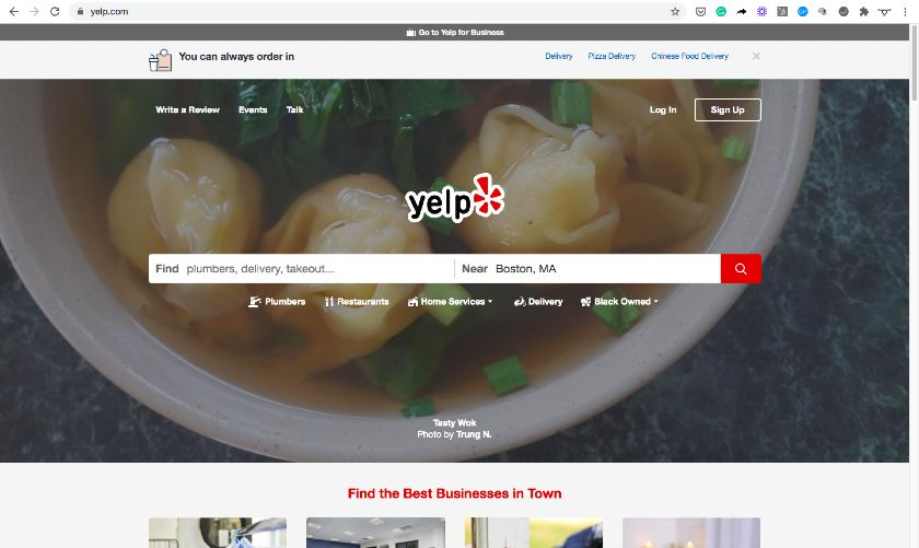 Domain Example - yelp.com