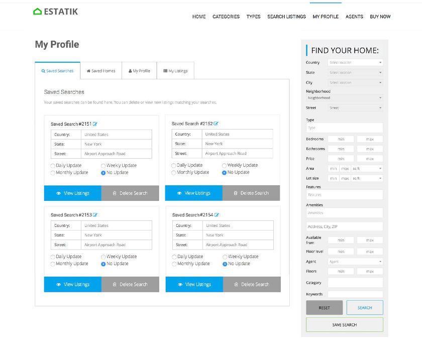 Estatik Profile saved searches