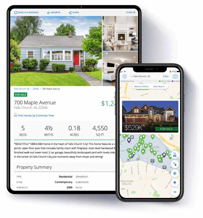 Homesnap App on smartphone and tablet