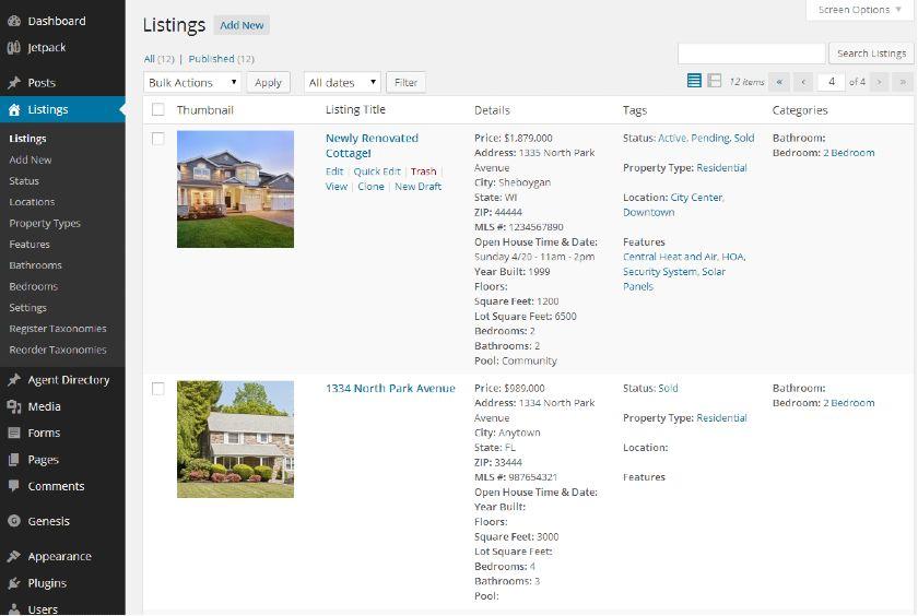 IMPress Listings tab in Wordpress