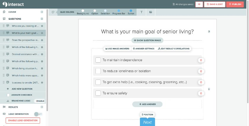 Interact Questions Editor Interface