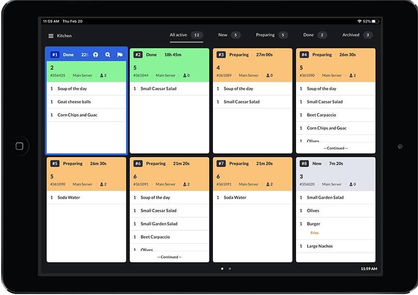 Screenshot of Lightspeed Kitchen Features