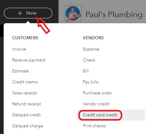 New Credit Card Credit in QuickBooks Online