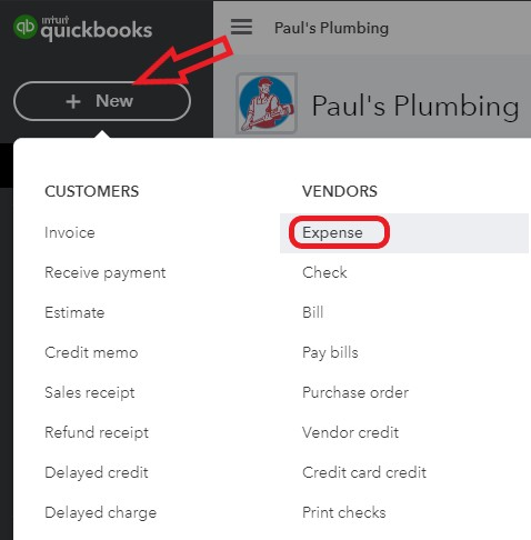 Expense Transaction in QuickBooks Online