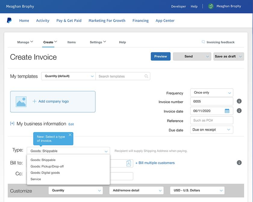 Paypal Invoicing sample