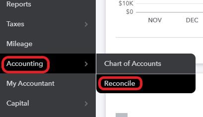 QuickBooks Credit Card Reconciliation Screen