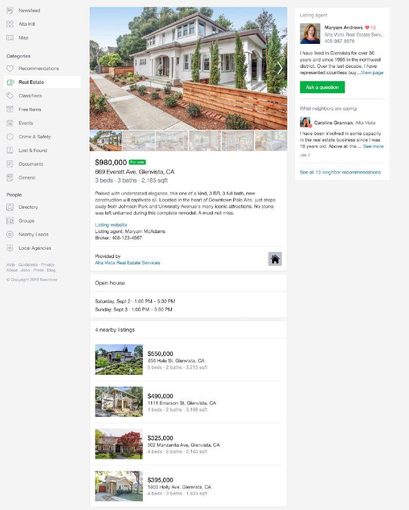 Real estate listings on Nextdoor