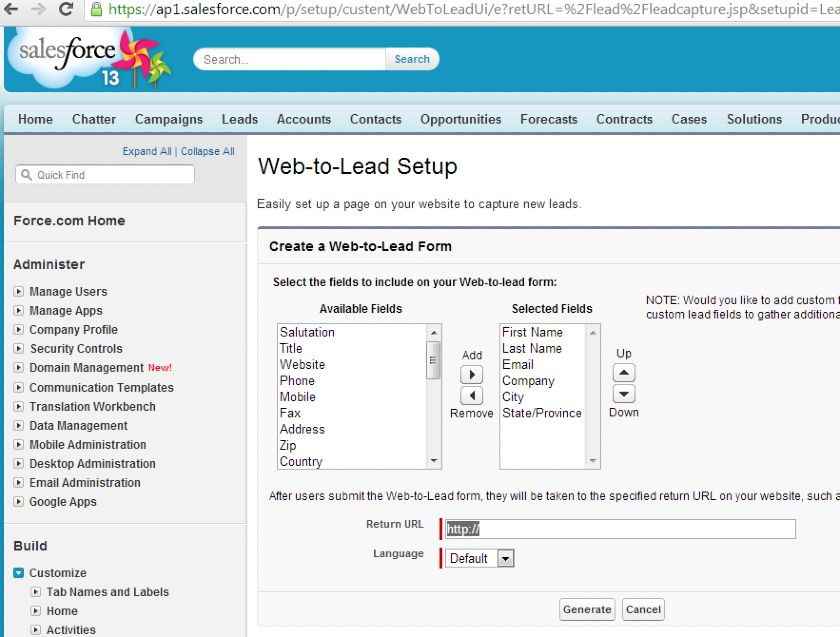 Salesforce Web-to-Lead Setup