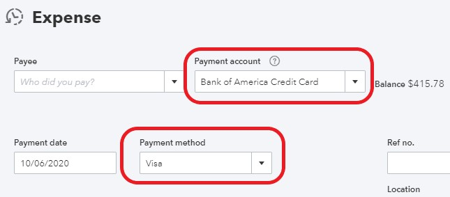 payment method and account in QuickBooks Online
