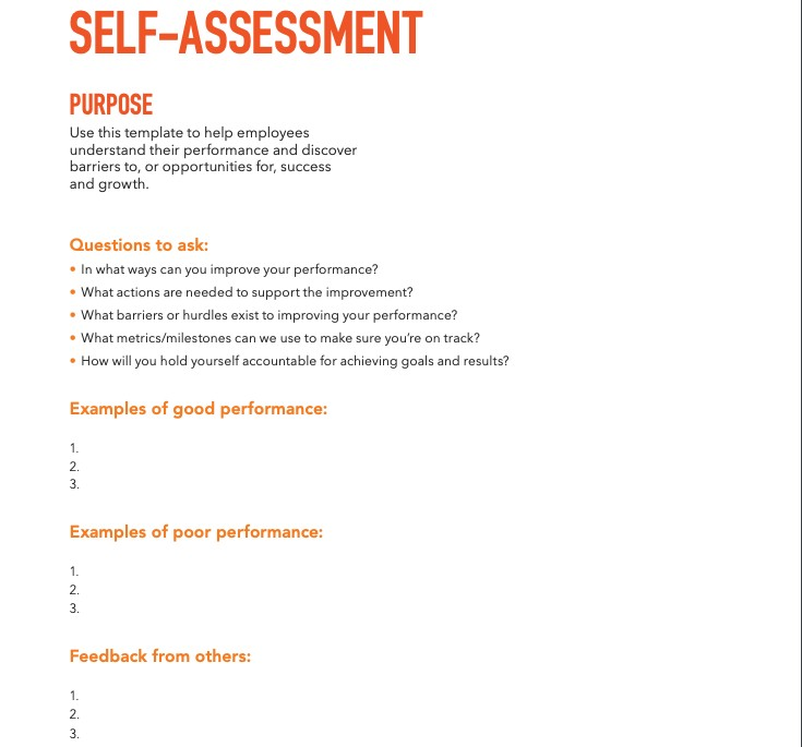 Self-assessment Performance Review Template