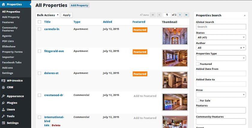 WP-Property tab in WordPress