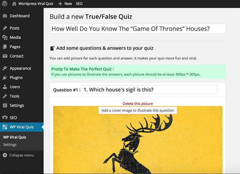 WordPress Viral Quiz Dashboard