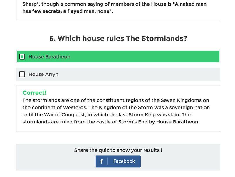 WordPress Viral Quiz Example