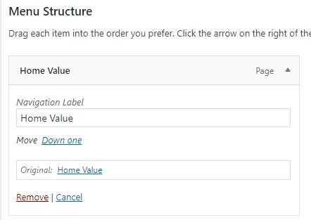 Wordpress Menu Structure tab