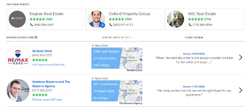 ZPA members section on Zillow
