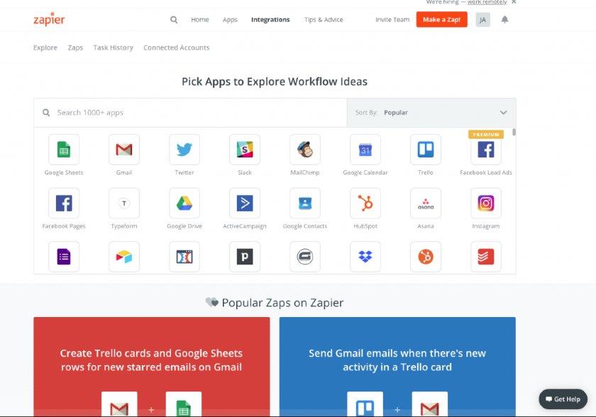 Screenshot of Zapier integrations