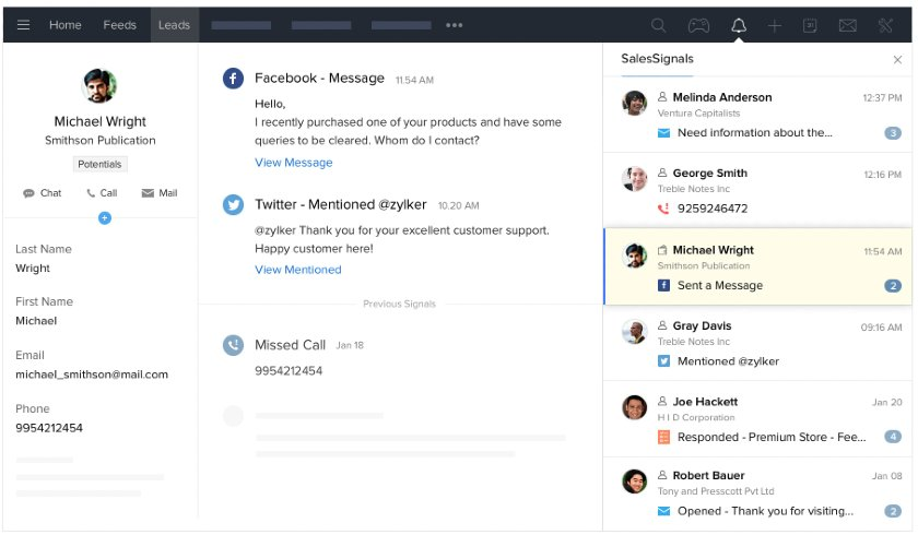 Zoho CRM In-App Calling and Live Chat