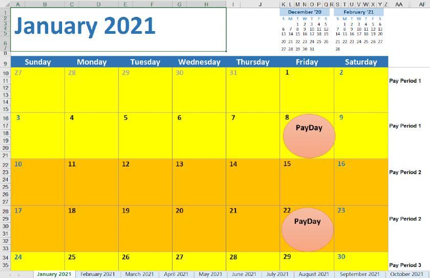 Screenshot of 2021 Biweekly Calendar