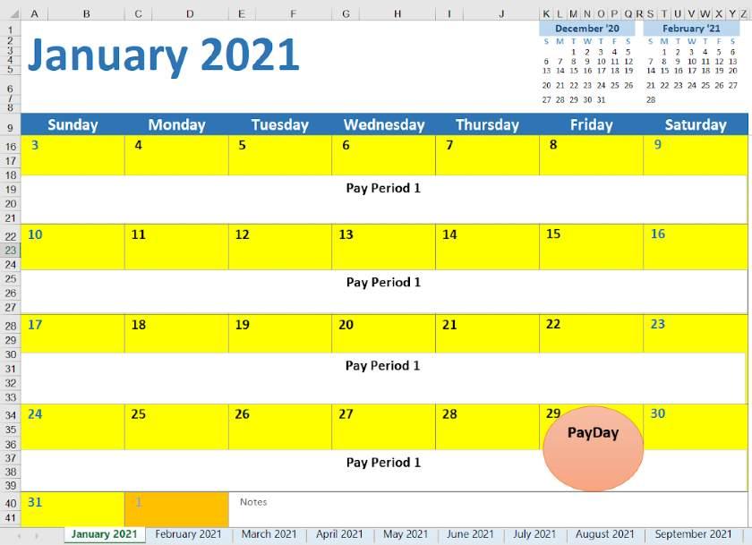 Screenshot of 2021 Monthly Calendar