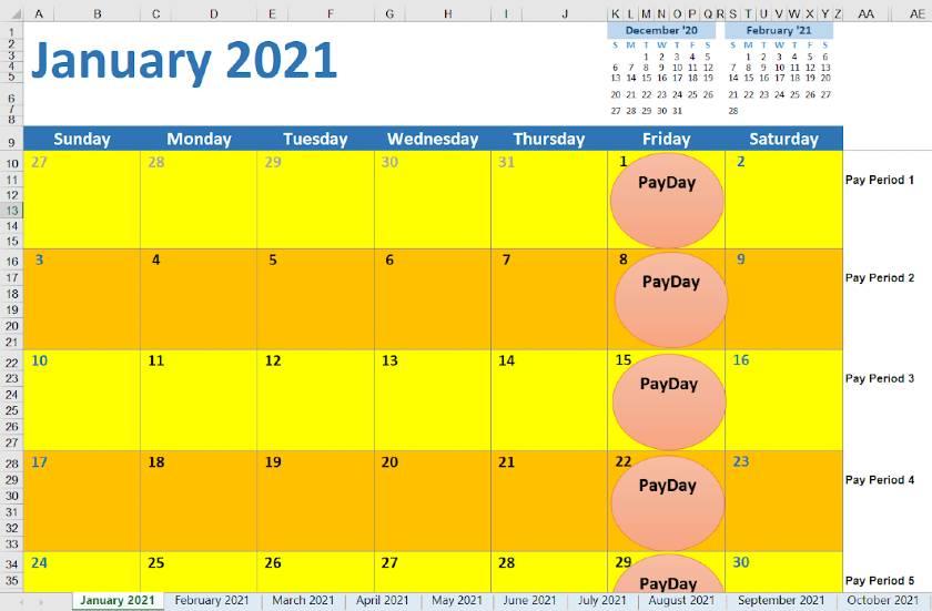 Screenshot of 2021 Weekly Pay Period Calendar