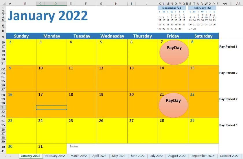 Screenshot of 2022 Biweekly Calendar