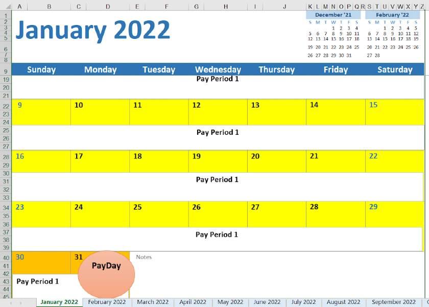 Screenshot of 2022 Monthly Calendar