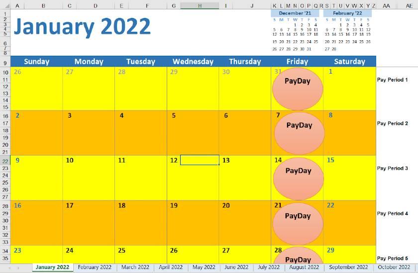 Screenshot of 2022 Weekly Calendar
