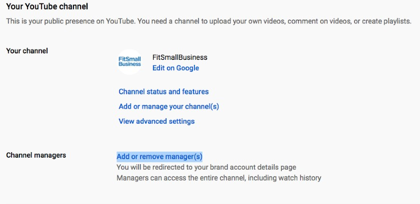 Screenshot of Adding Channel Manager on Youtube